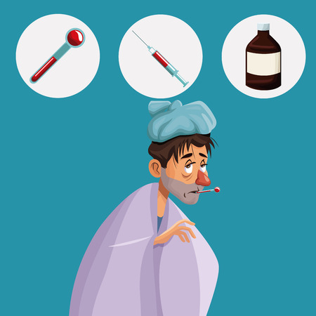 body temperature: blue color background with cold sickness man half body icons medicine vector illustration