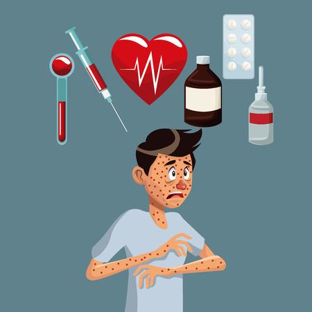 gray color background with rash sickness man half body icons medicine vector illustration