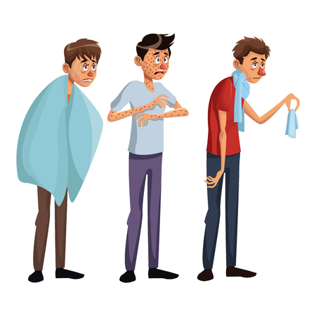 white background set full body standing various sickness symptoms people male vector illustration