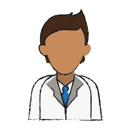 faceless male doctor icon image vector illustration design  sketch style