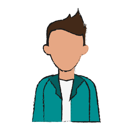 portrait of faceless young man icon image vector illustration design  sketch style