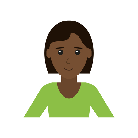 appearance: portrait of happy dark skin woman with professional appearance icon image vector illustration design