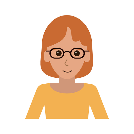 portrait of happy red hair woman with professional appearance icon image vector illustration design