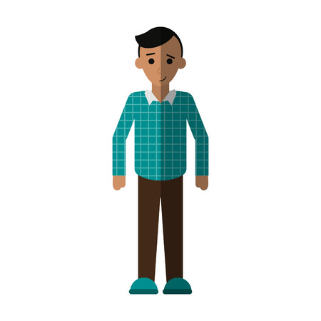 full body happy man with casual outfit  icon image vector illustration design
