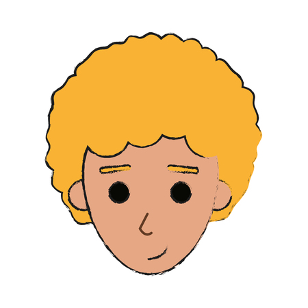 face of happy young blonde  man icon image vector illustration design