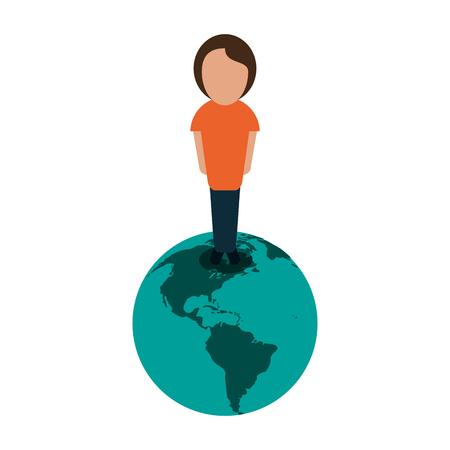 행성 지구에 서있는 사람 국제 아이콘 이미지 벡터 일러스트 레이 션 디자인 일러스트