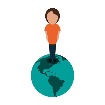 person standing on planet earth international icon image vector illustration design Иллюстрация