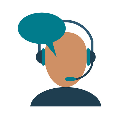 call center person with headset icon image vector illustration design