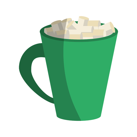 hot chocolate with marshmallows icon image vector illustration design