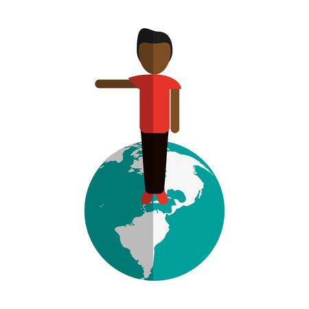 惑星地球国際アイコン画像ベクトル イラスト デザインに立っている人