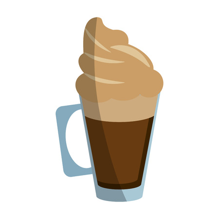 coffee beans: coffee beverage with whipped cream  icon image vector illustration design