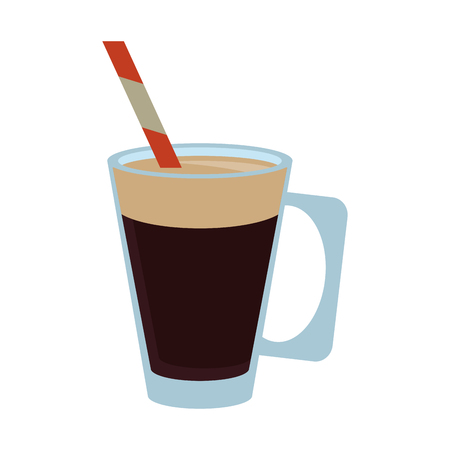 coffee beans: Coffee beverage in glass cup  icon image vector illustration design