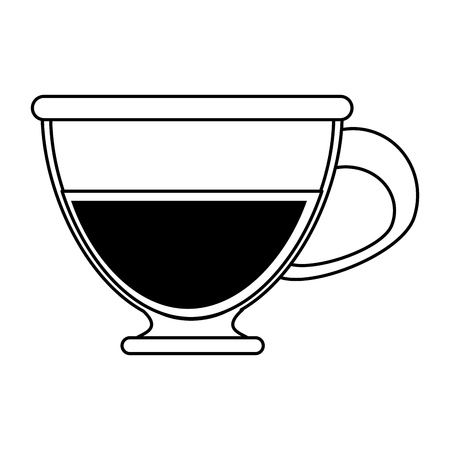 flavored: coffee beverage in glass cup  icon image vector illustration design