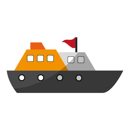 cruise ship with flag icon image vector illustration design