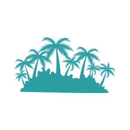 tree isolated: tropical island with tree palm landscape silhouette vector illustration