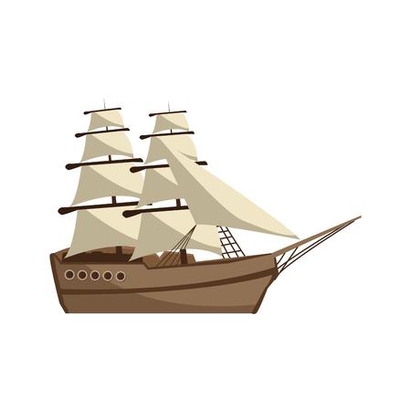 voilier vintage voyage aventure nautique vector illustration