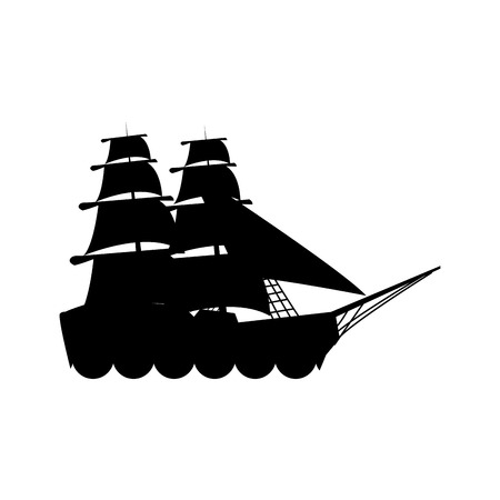 digitally generated image: silhouette ship vessel boat nautical vector illustration