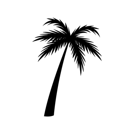 silhouette palm tree tropical natural vector illustration Иллюстрация
