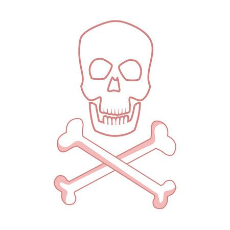 skull and crossed bones: medical skull bones crossed human danger concept vector illustration
