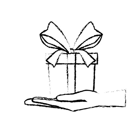 hand holding gift box with ribbon bow vector illustration