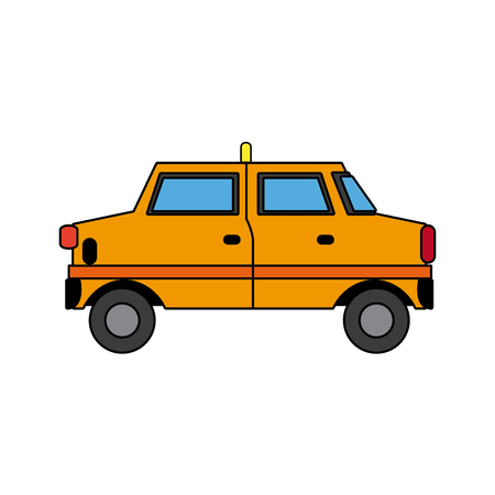 yellow taxi car transport public service vector illustration