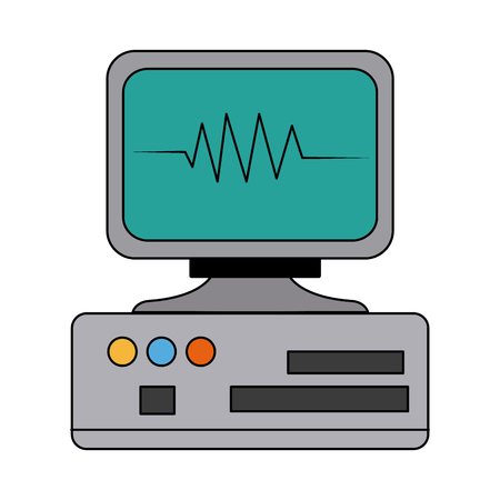 monitor cardiology pulse medicine device technology vector illustration Illustration