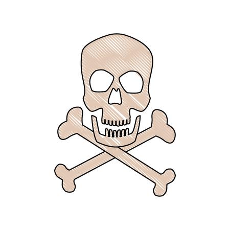 skull and crossed bones: danger skull bones crossed medicine symbol vector illustration Illustration