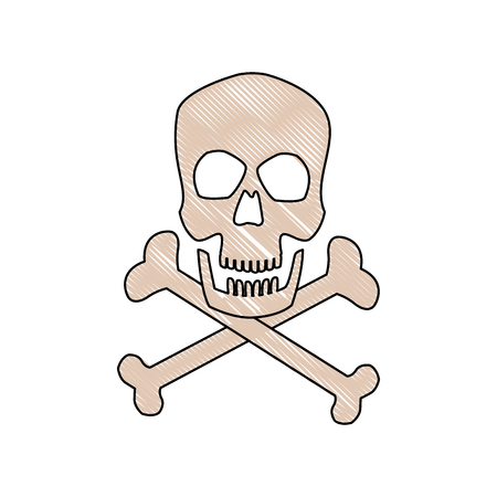 danger skull bones crossed medicine symbol vector illustration Illustration