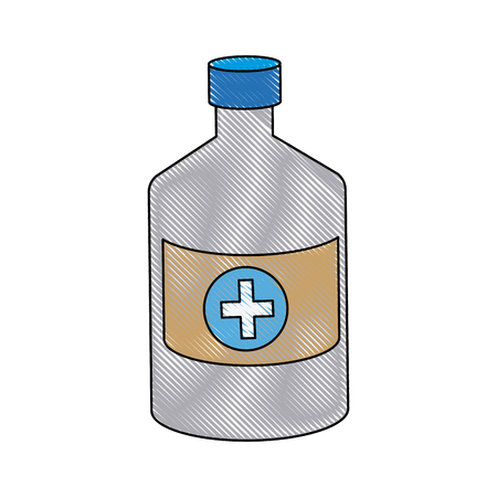 prescription bottles: bottle medicine pharmacy cross symbol vector illustration Illustration
