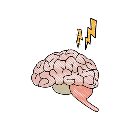 drawing brain human pain sick organ vector illustration