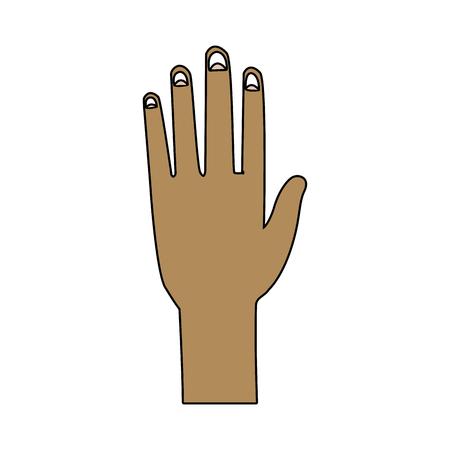 hand man human open showing five fingers vector illustration