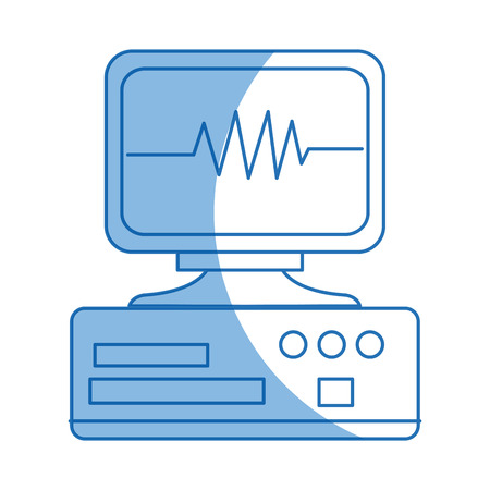 monitoring cardiology pulse cae device equipment hospital vector illustration