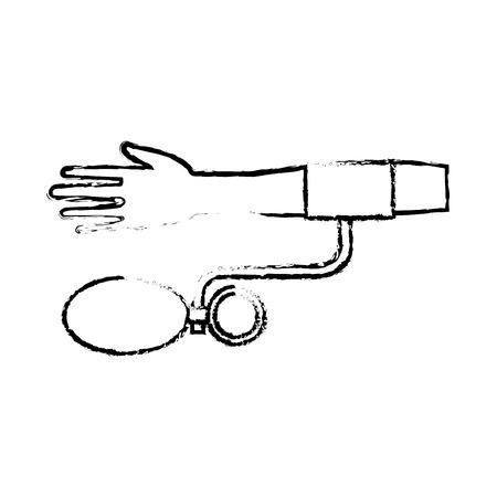 human hand with measuring pressure blood medicine vector illustration