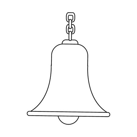 campana delineada con cadena antigua ilustración vectorial tradicional Vectores