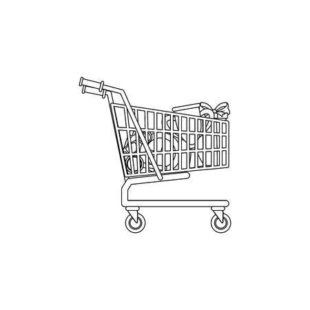 shopping cart full of social media items vector illustration Illustration