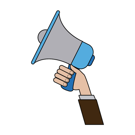 hand holding speaker loud marketing business vector illustration Illustration