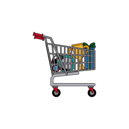 haul: shopping cart full of social media items vector illustration Illustration