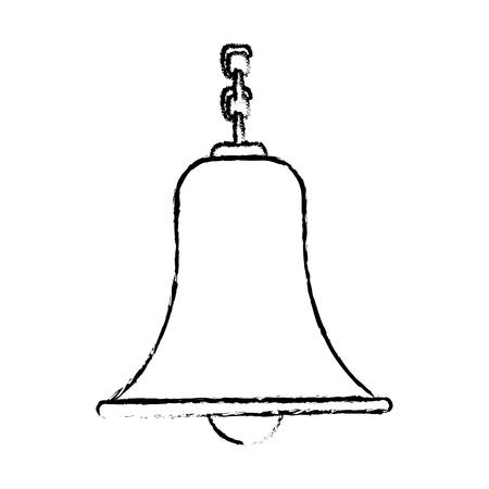 Campana con ilustración de vector tradicional antiguo de cadena