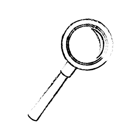 inspect: magnifier search loupe discovery find zoom vector illustration