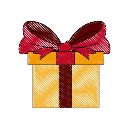 gift box wrapped ribbon bow decoration celebration vector illustration