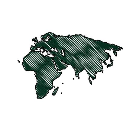 silhouette map world location landmark vector illustration Illustration