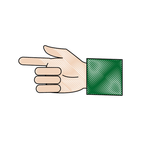 touch screen interface: business man hand pointing successful icon vector illustration