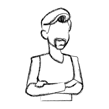 ilustration: portrait man people faceless style image vector ilustration Illustration