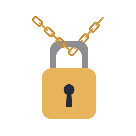 padlock chain security protection image vector illustration