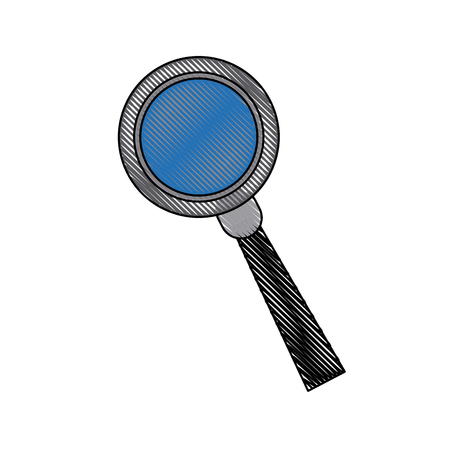 investigating: Magnifying glass analysis business element icon vector illustration
