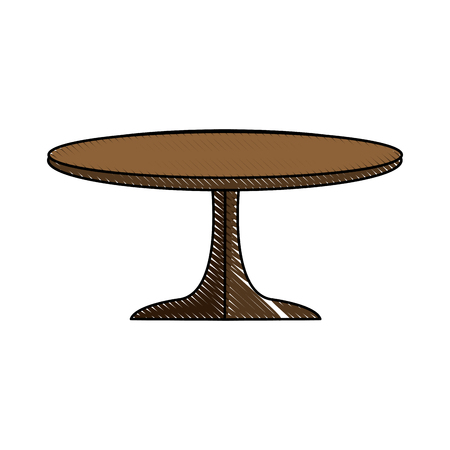 Round table wooden brown furniture icon vector illustration