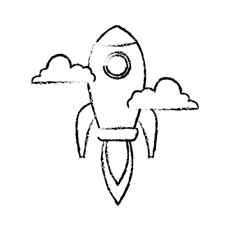 fly up: Rocket launching as a metaphor for start up business vector illustration