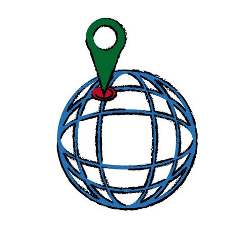 Location on globe pin map world image vector illustration Illustration