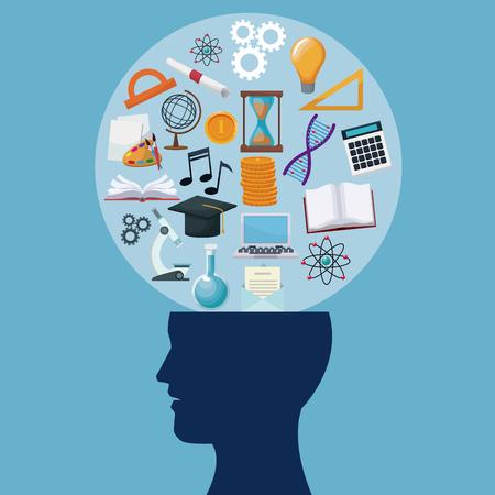 kleur achtergrond menselijke hoofd cirkelbel met pictogrammen kennis vectorillustratie