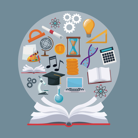 Fondo de color libro abierto con iconos de frontera circular conocimiento académico vectorial ilustración